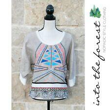 NWT Retail $149 Ivy Jane Blue & Tan Aztec Crop Knit Top Small - Medium