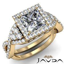 Princess Diamond GIA F VS2 18k Yellow Gold Halo Pave Set Engagement Ring 3.15ct