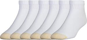 Gold Toe Mens Cotton Big Tall Quarter Ankle Sock 13-15 Shoe 12-16 White 6-pack