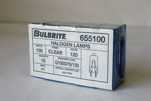 BulBrite Halogen Lamp Q100 GY8/120 New in Box Clear 100w 120v JCD Type