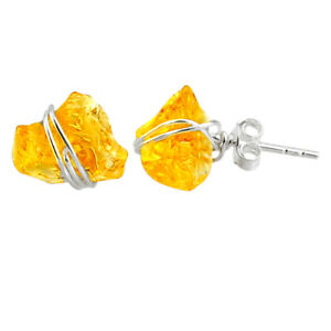 6.61cts Yellow Citrine Raw 925 Sterling Silver Stud Earrings Jewelry R79737