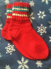 New Hand Knitted Wool Stripe Red Socks Size 7-8
