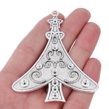5 x Tibetan Silver Large Christmas Tree Charms Pendants for Jewellery Making