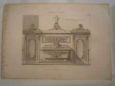Planche gravure mobilier d'église autel Chapelle St Denis 2