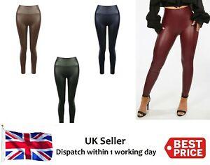 New Women's Leather Look Leggings Matte Effect PU Fleece Stretch Trousers Pants
