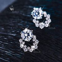 1f1eb9b347 18k white gold filled made with SWAROVSKI CZ crystal earrings stud cute