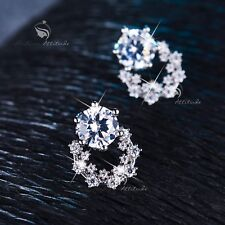 18k white gold filled made with SWAROVSKI CZ crystal earrings stud cute