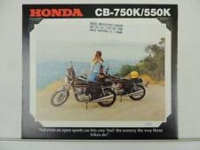 Vintage 1978 Honda CB 750K 550K Motorcycle Brochure and Specifications L3097
