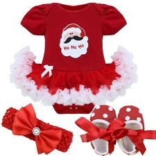 Christmas Baby Kids Girls Santa Outfit Fancy Tutu Dress Romper Clothes Set Xmas