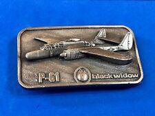 Vintage P-61 Black Widow Warplane Belt Buckle By Buckle Connection Pewter Color