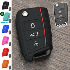 3 BUTTON FIT FOR VW GOLF 7 SKODA OCTAVIA SEAT SILICONE FLIP KEY COVER CASE FOB