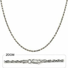 """13.20gm Solid 14k Gold White Diamond Cut Rope Chain Unisex Necklace 24"""" 2.50mm"""