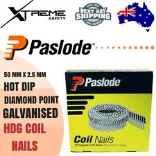 Paslode Coil 50mm x 2.5mm Ring Hot Dip Galvanised HDG Nails Diamond Point