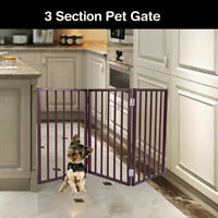 "24""  Wooden Folding Pet Dog Safey Gate Playpen Free Standing 3 Panel Indoor"