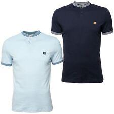 Gabicci Vintage Mens Short Sleeve Button Up Rib Stand Collar Stripe Polo Shirt