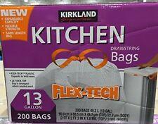 NEW Kirkland Signature Drawstring Kitchen Trash Bags - 13 Gallon 200 Count