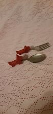 Vintage Child's Fork and Spoon set Bakelite Handle with Scottie Dog Scotty