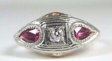 Antique Art Deco Vintage Diamond Engagement Ring 14K Yellow White Gold Size 7.25