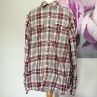 Fat Face Mens Grey Red Check Long Sleeve Flannel Long Sleeve Shirt Size M
