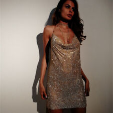 Club Party Stunning Sequin Sparkly Metal Mesh Crystal Halter Mini Cocktail Dress