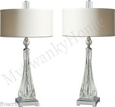 Contemporary TWISTED GLASS Silver Crystal Table Lamp PAIR Set Nickel Modern