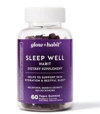 Glow Habit Sleep Well Melatonin Supplemen Gummies Blueberry 60 ct vegan Ex 1/21