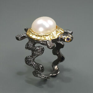 Pearl Ring 925 Sterling Silver Size 7 /RA18-0193