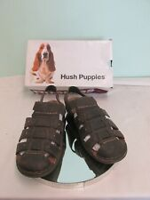 Men's Hush Puppies Decode Fisherman's CT Sandals Brown Waxy Leather Sz 10.5 UK