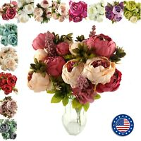 13Heads Silk Peony Artificial Flowers Wedding Bouquet Home Party Decor Grateful