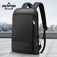 BOPAI Luxury leather waterproof Anti-Theft USB charge Business Laptop Backpack