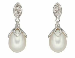 Elements 9ct White Gold Diamond and Pearl Drop Earrings