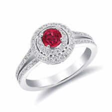 Natural Red Spinel 0.52 carats set in 14K White Gold Ring