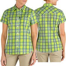 Dickies Shirts Womens Short Sleeve Stretch Poplin Plaid, Checker Shirt FS085