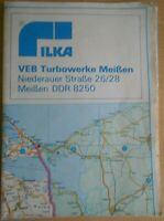 Autokarte DDR Tankstellen Mitropa Raststätten VEB Turbowerke Meissen Ostalgie