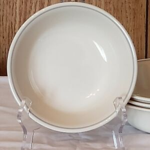"""4-Pc Corelle ROSE Coupe Cereal Bowls 6 1/4"""" Beige w Gray Band UNUSED Fast Ship"""