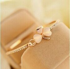 #3039 2016 New Clover Opal Fashion Bangle Sweet Gold Plated Charm Bracelet