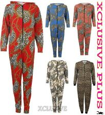 WOMENS LEOPARD CHAIN PRINT HOODED ONESIE ALL IN ONE SUIT JERSEY JUMPSUIT S/M M/L