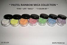 Pastel Rainbow Mica Powder Collection - Set of 7 colors - 3 gr. pots