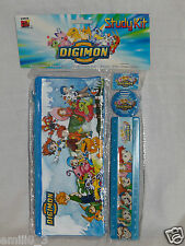 NEW IN PACKAGE DIGIMON 4 PC STUDY KIT, PENCIL CASE, ERASER,RULER