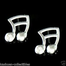 Clear w Swarovski Crystal ~16th MUSIC NOTE Semiquaver Musical Post Earrings Xmas