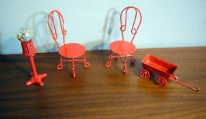 RED Metal 2 Patio chairs Wagon Toy Gum-ball Machine Doll House Furniture iron