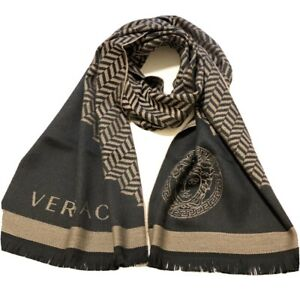 New! Authentic! Versace Collection Men's Logo 100% Wool Scarf