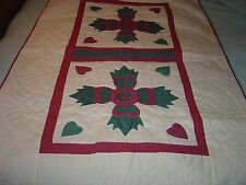 """AMISH MAUVE & GREEN BEAR PAW WALLHANGING QUILT SIZE 37""""- 61"""""""