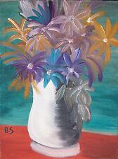 "Original Oil Painting ""FLOWERS"" Canvas 16"" x 12"" (Matisse/Picasso/Miro/Munch)"