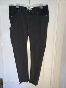 Madewell Maternity Skinny Jeans Gray Black Pull On Side Panel Under Belly sz 32