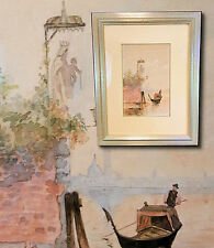 Qualitätsvolles Aquarell Venedig, Venezia, Italien, Gondoliere.  Galerierahmung