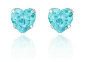 Sterling Silver Heart Shape Aquamarine 1.24ct Stud Earrings (925)