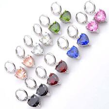 Wedding Heart set Rainbow Topaz Peridot Morganite Garnet Silver Danlge Earrings