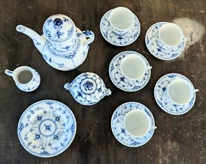 Royal Copenhagen Unused 20 Piece Coffee Set Half Lace First Quality Blue Fluted