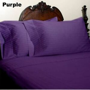 Violet Striped King 4 Piece Bed Sheet Set 1000 Thread Count 100% Egyptian Cotton